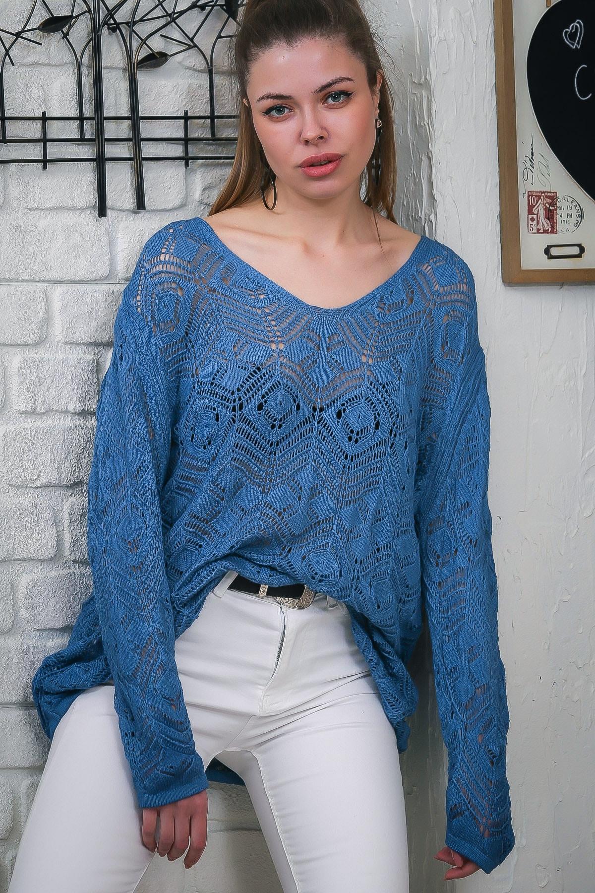 Chiccy Kadın Mavi V Yaka Ajurlu Salaş Triko Bluz M10010200BL95553 0