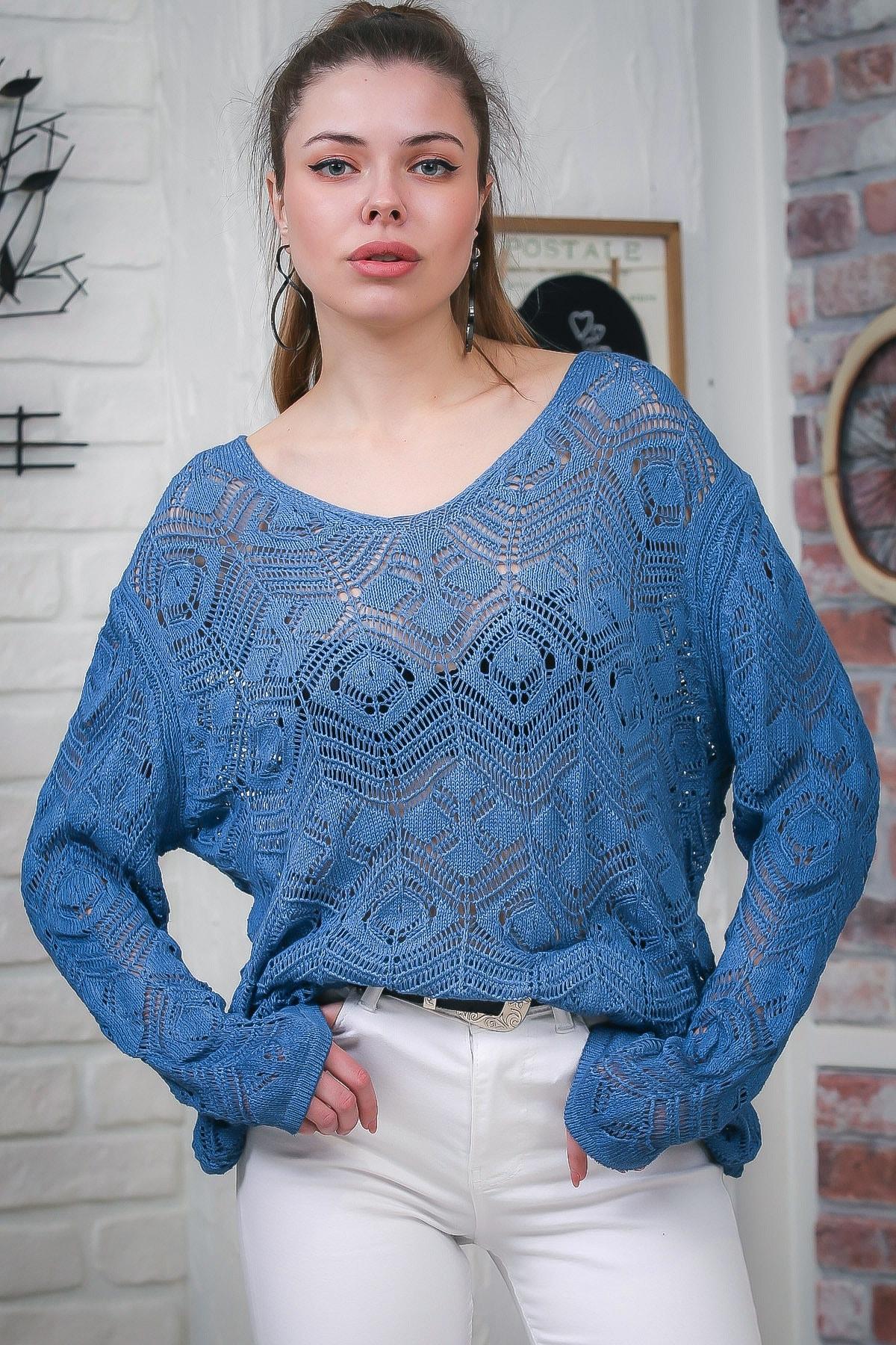 Chiccy Kadın Mavi V Yaka Ajurlu Salaş Triko Bluz M10010200BL95553 1