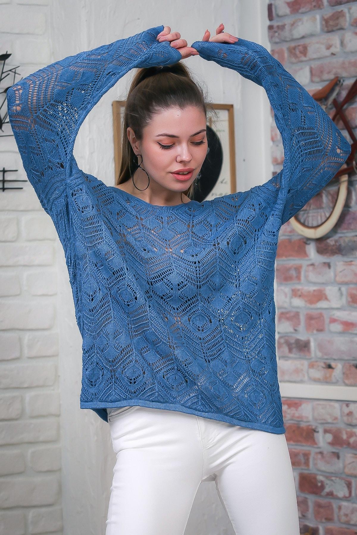 Chiccy Kadın Mavi V Yaka Ajurlu Salaş Triko Bluz M10010200BL95553 3