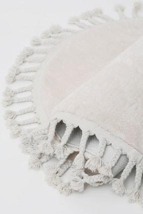 Dijidekor Açık Vizon-krem Oval Post Dokuma Halı Saçaklı Peluş Yumuşacık Kaymaz Antibakteriyel 2