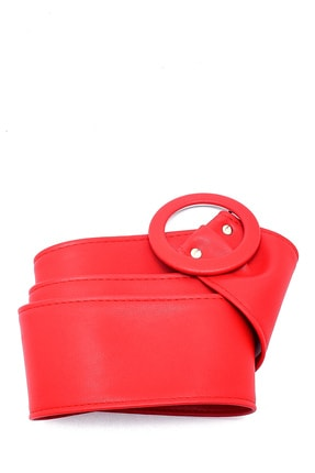 Trend Alaçatı Stili Kadın Kırmızı Toka Detaylı Kemer ALC-A2177 0