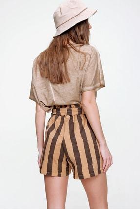 Trend Alaçatı Stili Kadın Karamel Beli Lastikli Çizgili Şort ALC-X6027 3