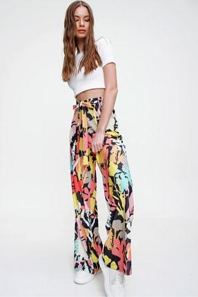 Trend Alaçatı Stili Kadın Multi Desenli Rahat Kesim Pantolon ALC-X6016 2