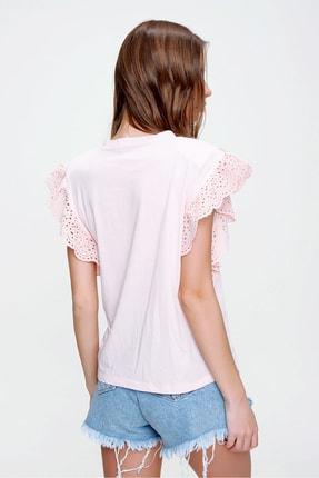 Trend Alaçatı Stili Kadın Pudra Güpür Kollu Vatkalı Bluz ALC-X5939 4