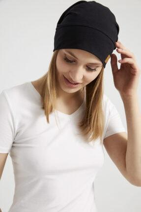 Butikgiz Kadın Siyah, Ip Detaylı Özel Tasarım 4 Mevsim Şapka Bere Buff -ultra Yumuşak Doğal Penye Kumaş 4