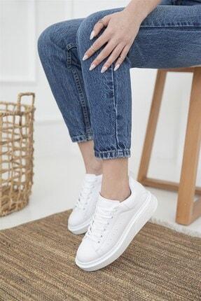 Straswans Kadın Beyaz Deri Spor Ayakkabı 0