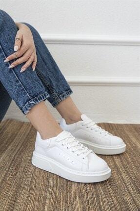 Straswans Kadın Beyaz Deri Spor Ayakkabı 2
