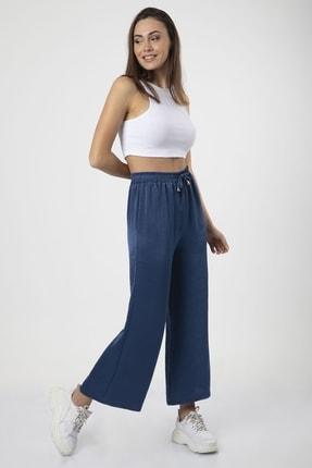 MD trend Kadın Indigo Bel Lastikli Bağcıklı Bol Paça Salaş Pantolon 3