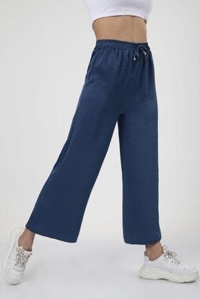 MD trend Kadın Indigo Bel Lastikli Bağcıklı Bol Paça Salaş Pantolon 4