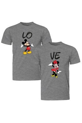 Unisex Gri Çift Kombinleri Mickey Minnie 2 Adet Tişört ST153SCK1150