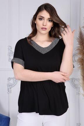 Gül Moda Kadın Siyah Büyük Beden Kısa Kollu Bluz G058-1 4