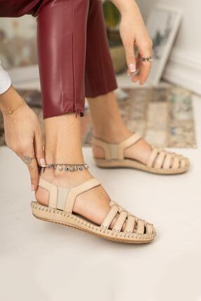 Diego Carlotti Hakiki Deri Bej Kadın Günlük Önü Kapalı Sandalet 1