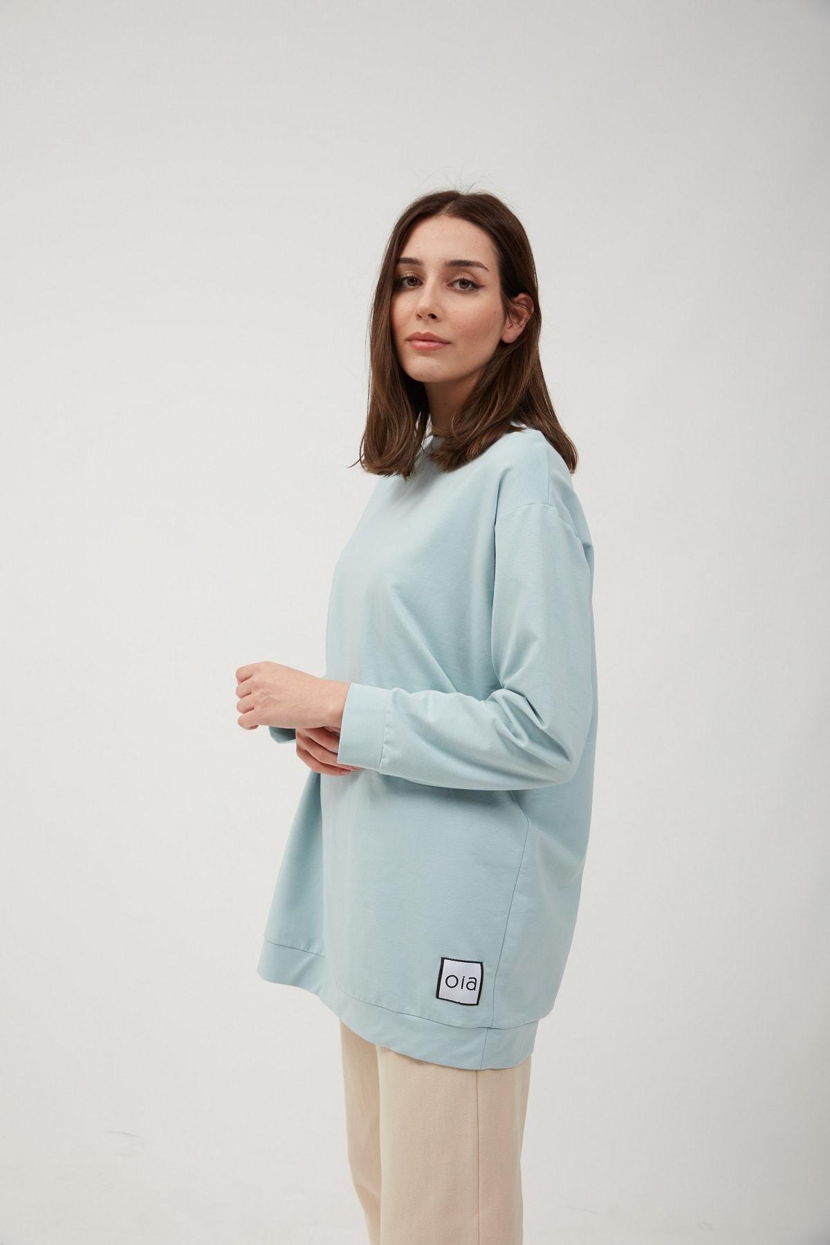 Kadın  Bebe Mavi Uzun Basic Sweat Tunik W-0162