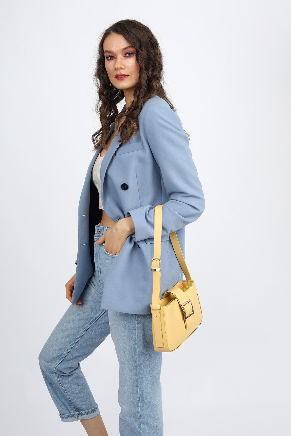 Madamra Aynı Butikte 2. Ürün 1 TL Sarı Kadın Kemerli Baguette Omuz Çantası 2