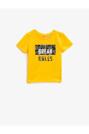 Koton Erkek Bebek Sarı Pamuklu Kısa Kollu Bisiklet Yaka T-Shirt 0