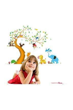 KT Decor Dev Boyutlu Çocuk Odası Dekorasyonu Ağaç Maymun Ve Hayvanlar Xl Duvar Sticker 1