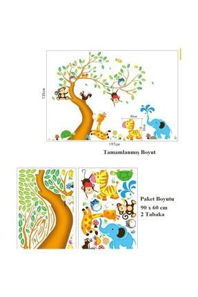 KT Decor Dev Boyutlu Çocuk Odası Dekorasyonu Ağaç Maymun Ve Hayvanlar Xl Duvar Sticker 3
