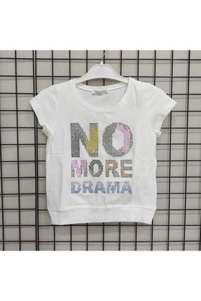 NK Kız Çocuk Ekru Reli Taşlı Drama T-shirt 0