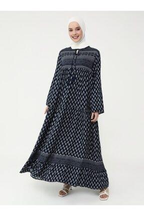 Refka Kadın Lacivert Doğal Kumaşlı Desenli Elbise 4