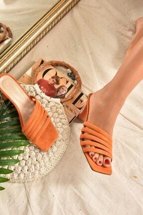 Fox Shoes Kadın Turuncu Süet Terlik K494566302 1