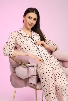LİKAPA Penye Önden Düğmeli Hamile Lohusa Uzun Kol Pijama Takımı 0
