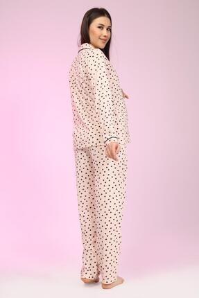 LİKAPA Penye Önden Düğmeli Hamile Lohusa Uzun Kol Pijama Takımı 4