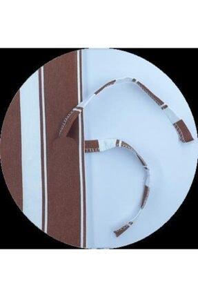 ALTINPAMUK Her Ölçüde Enxboy Seçenekli Bağcıklı Balkon Perdesi Balkon Brandası Kahve Beyaz- 2