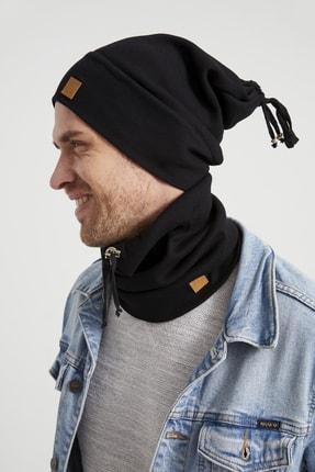 Butikgiz Erkek Genç Atletik Siyah Ip Detaylı Şapka Bere Boyunluk Takım -spor, Rahat, %100 Pamuklu,el Yapımı 3