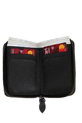Kenpool Unisex 7 Bölmeli Fermuarlı Siyah S.deri Kredi Kartlık Cüzdan Knp-10s 1