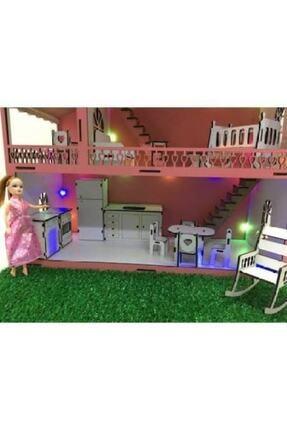 ZeyCan Lazer Işıklı Bahçeli Ve Bebek Hediyeli Barbie Oyun Evi 3