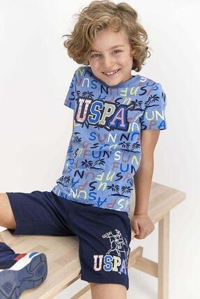 US Polo Assn Genç Erkek Açık Indigo Lisanslı Sun Fun  Bermuda Takım 1