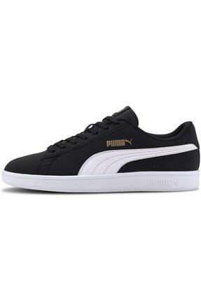 Puma Smash V2 Buck 365160 23 Kadın Erkek Sneaker Ayakkabı Siyah Beyaz 36-45 0
