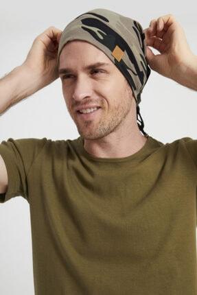 Butikgiz Erkek Haki, Kamuflaj Desenli, Ip Detaylı 4 Mevsim Şapka Bere Buff -ultra Yumuşak Doğal Penye Kumaş 2