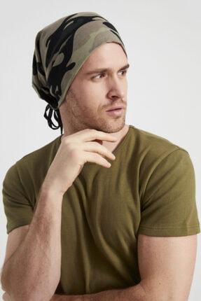 Butikgiz Erkek Haki, Kamuflaj Desenli, Ip Detaylı 4 Mevsim Şapka Bere Buff -ultra Yumuşak Doğal Penye Kumaş 4