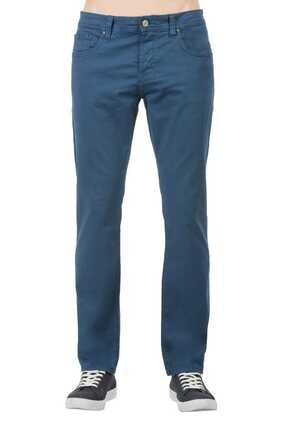 044 Karl Slim Fit Orta Bel Düz Paça Erkek Indigo Pantolon resmi