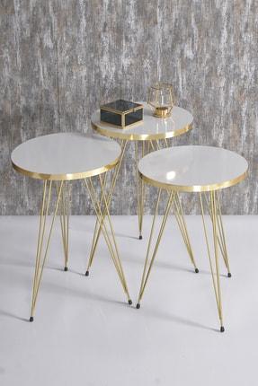 GOLDFALEZ Zigon Sehpa Ve Orta Sehpa Kr Set Gold Beyaz Tel 2