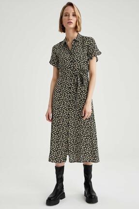 Defacto Kadın Siyah Volanlı Kol Detaylı Kuşaklı Gömlek Elbise 3