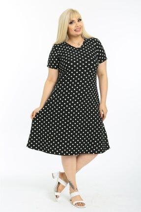 LİKRA Kadın Siyah Puantiye Desen Esnek Örme Krep Elbise 3