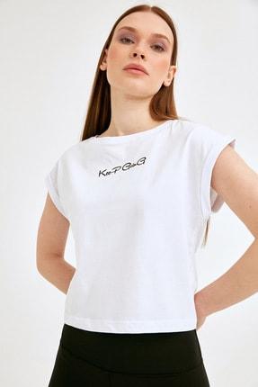 Fullamoda Kadın Beyaz Keep Going Baskılı Tshirt 0