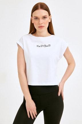 Fullamoda Kadın Beyaz Keep Going Baskılı Tshirt 1
