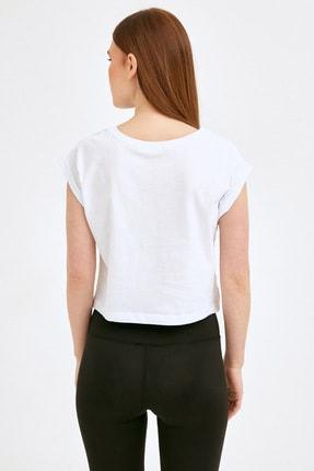 Fullamoda Kadın Beyaz Keep Going Baskılı Tshirt 3