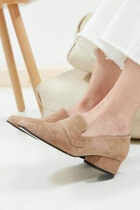 Mio Gusto Camilla Hakiki Süet Vizon Kısa Topuklu Ayakkabı 1