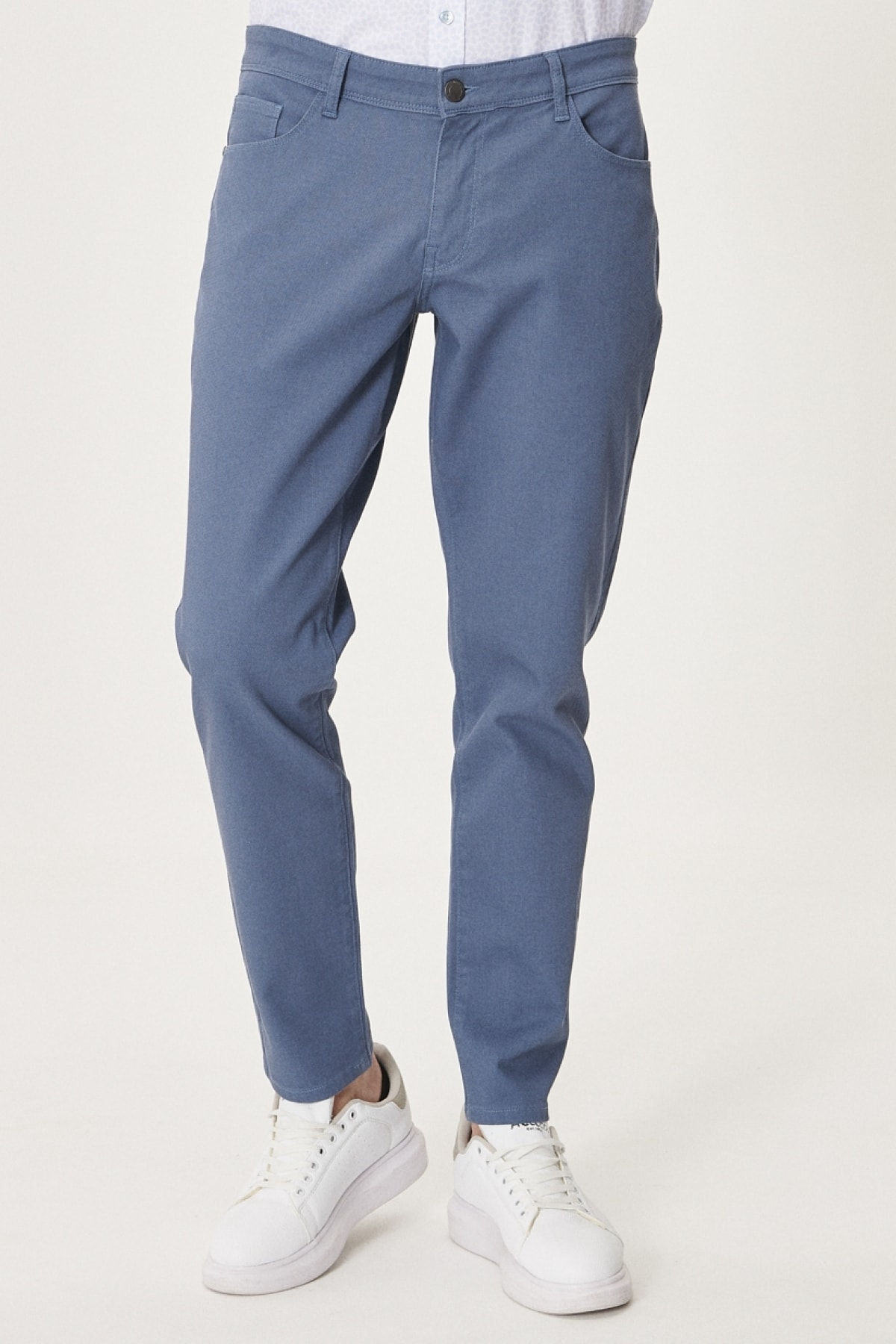 Erkek Havacı Mavi Kanvas Slim Fit Dar Kesim 5 Cep Pantolon