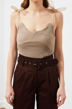 TRENDYOLMİLLA Vizon Tül Detaylı Triko Bluz TWOSS21BZ0120 2