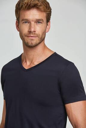 Hemington Erkek Lacivert V Yaka Basic T-shirt 4
