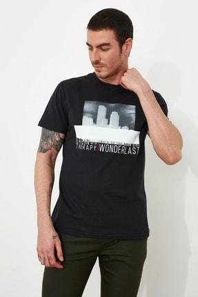 TRENDYOL MAN Siyah Erkek Baskılı Regular Fit T-Shirt TMNSS20TS1509 1