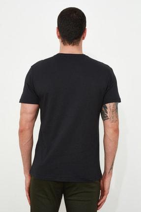 TRENDYOL MAN Siyah Erkek Baskılı Regular Fit T-Shirt TMNSS20TS1509 3