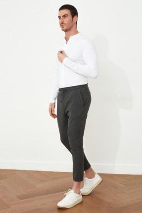 Antrasit Erkek Beli Lastikli Slim Fit Pantolon TMNAW21PL0107 resmi
