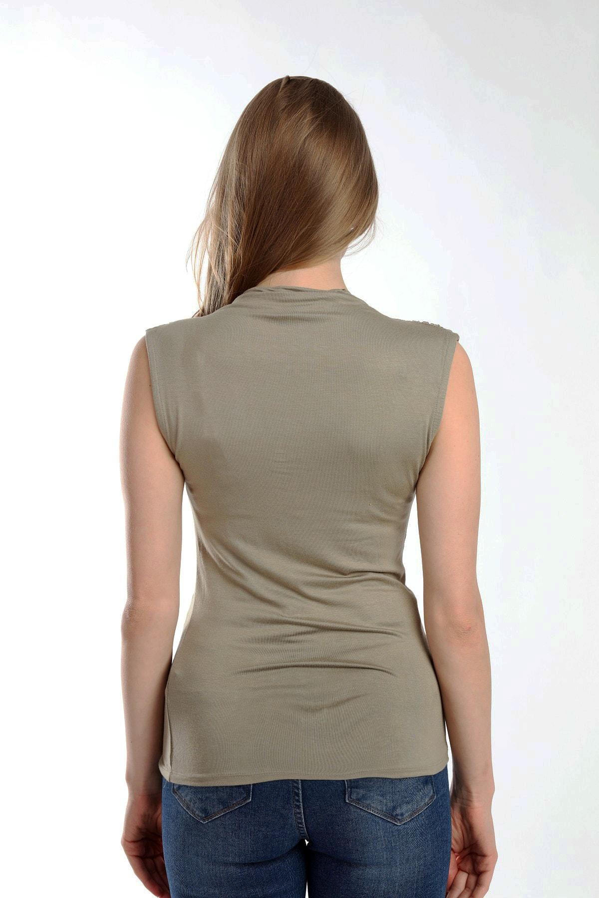 Stiloda Kadın Su Yeşili Kolsuz Basic Örme Same Yaka Omuz Büzgülü Sıfır Kol Bluz