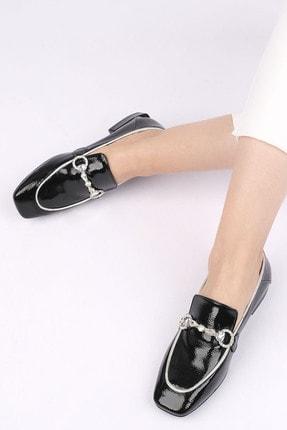 Marjin Kadın Siyah Rugan Loafer Ayakkabı Ateni 1